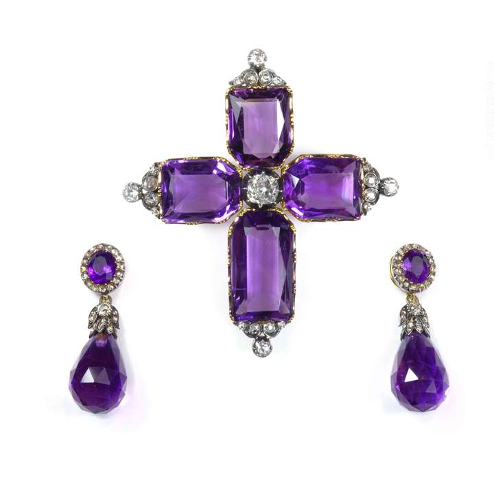 Antique amethyst suite of pendant earrings and cross, in fitted case by Parkes