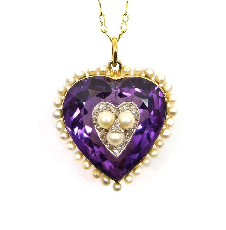 Antique amethyst, pearl and diamond heart pendant