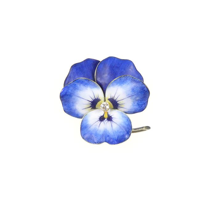 Antique blue and white enamel and diamond pansy brooch | MasterArt