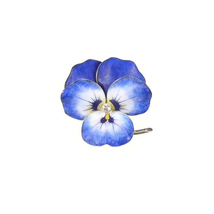 Antique blue and white enamel and diamond pansy brooch