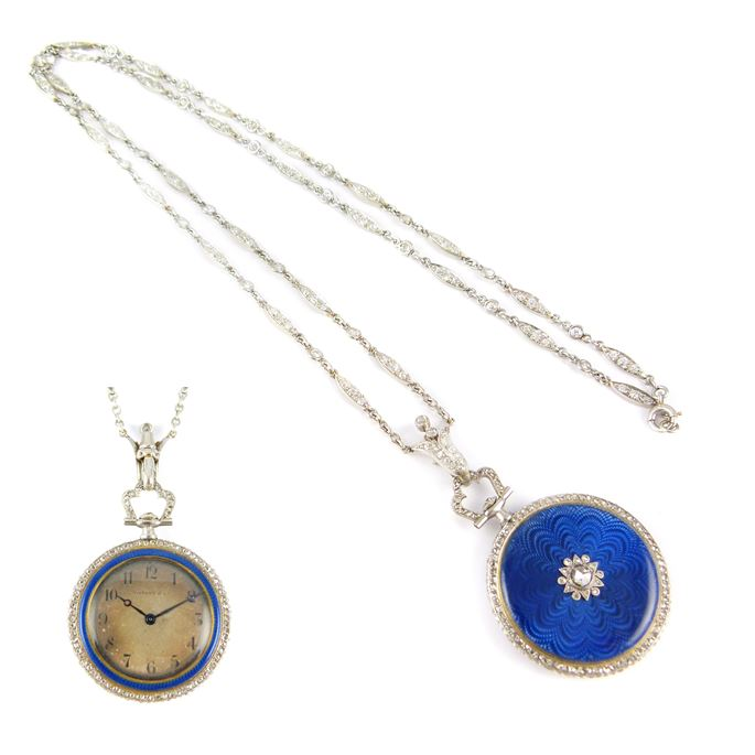 Tiffany - Antique blue enamel and diamond pendant watch by Tiffany together with a diamond chain | MasterArt