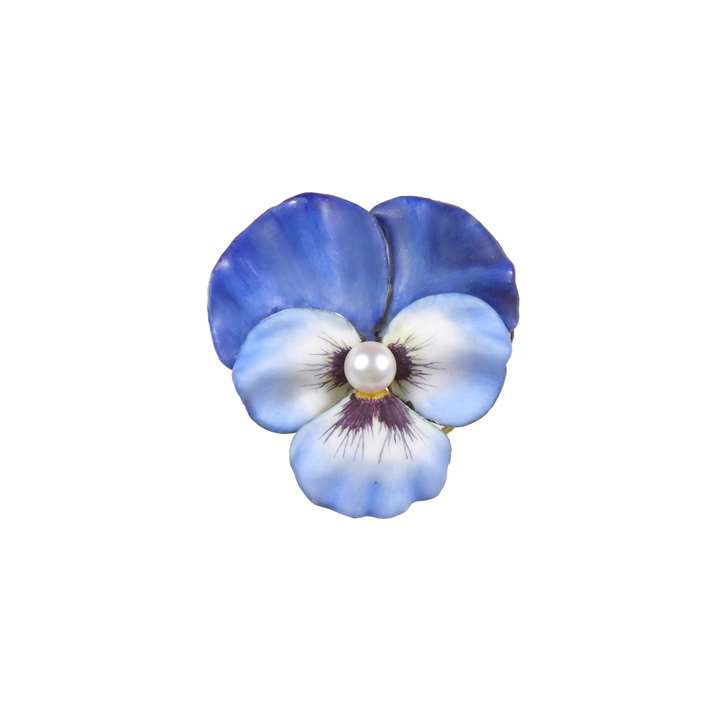 Antique blue enamel and pearl pansy brooch