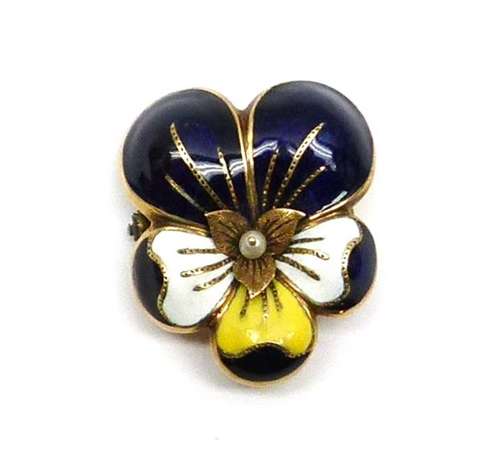 Antique blue, white and yellow enamelled gold pansy brooch