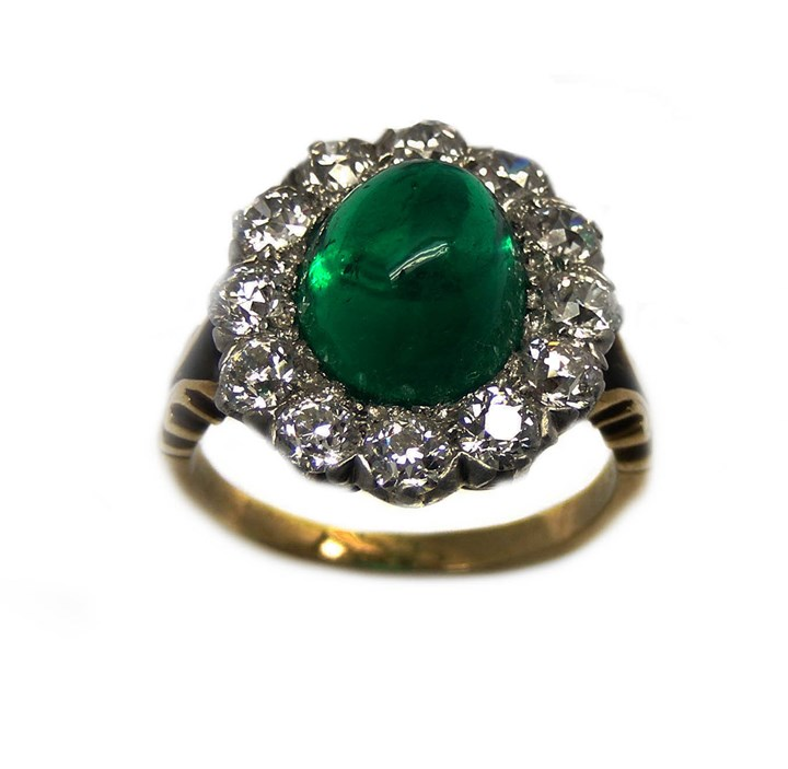 Antique cabochon emerald and diamond cluster ring