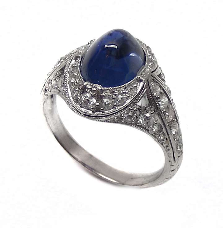 Antique cabochon sapphire & diamond ring