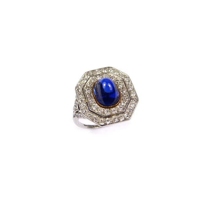 Antique cabochon sapphire and diamond ring | MasterArt