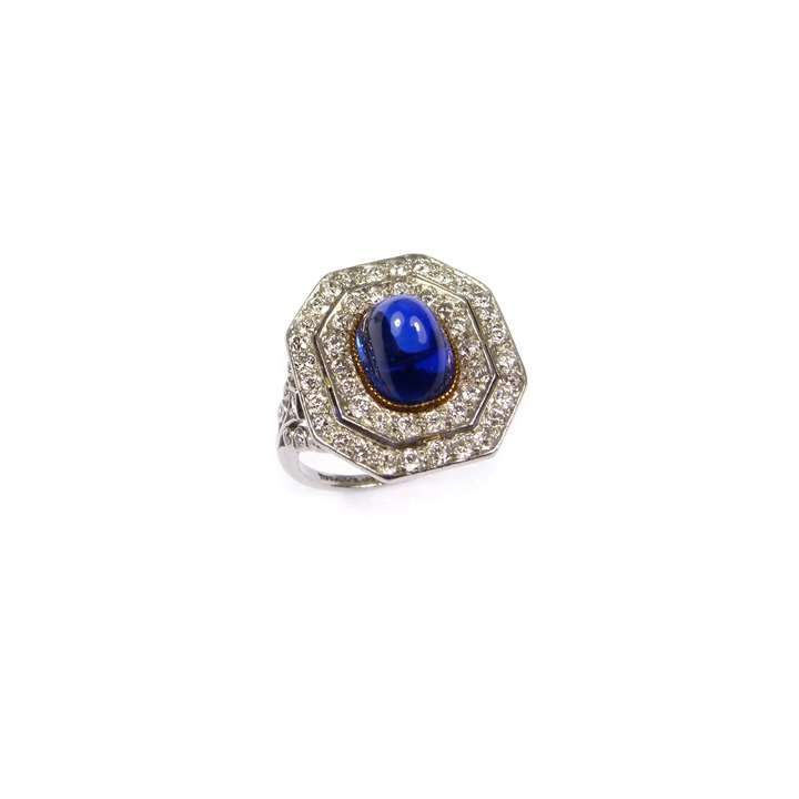 Antique cabochon sapphire and diamond ring