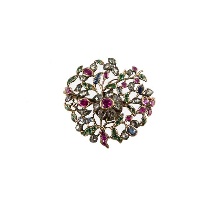 Antique circular ruby,emerald, sapphire and diamond giardinetti brooch