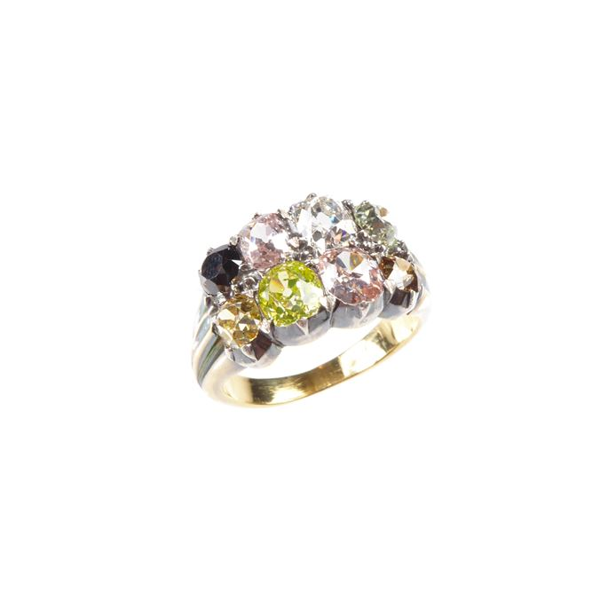 Antique coloured and white diamond two row eight-stone ring | MasterArt
