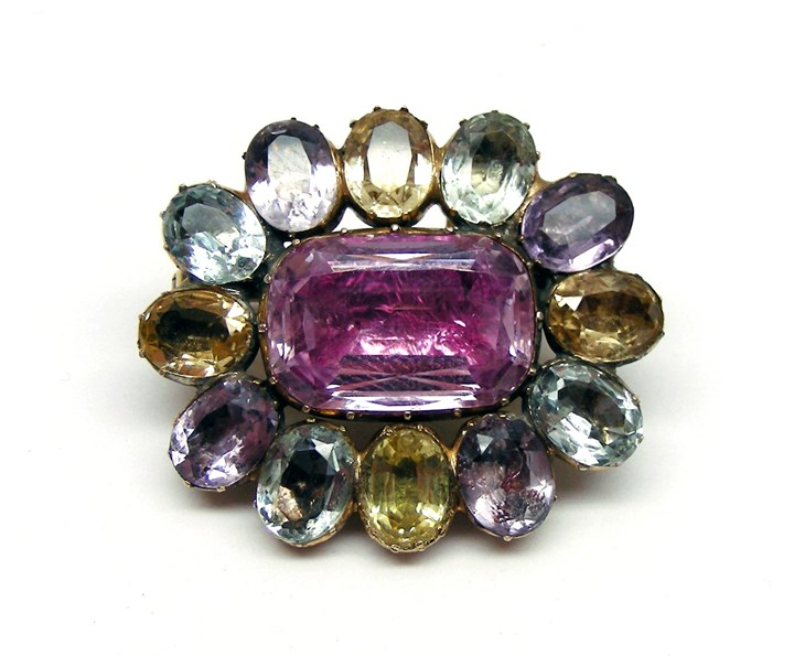 Antique coloured topaz oval cluster brooch