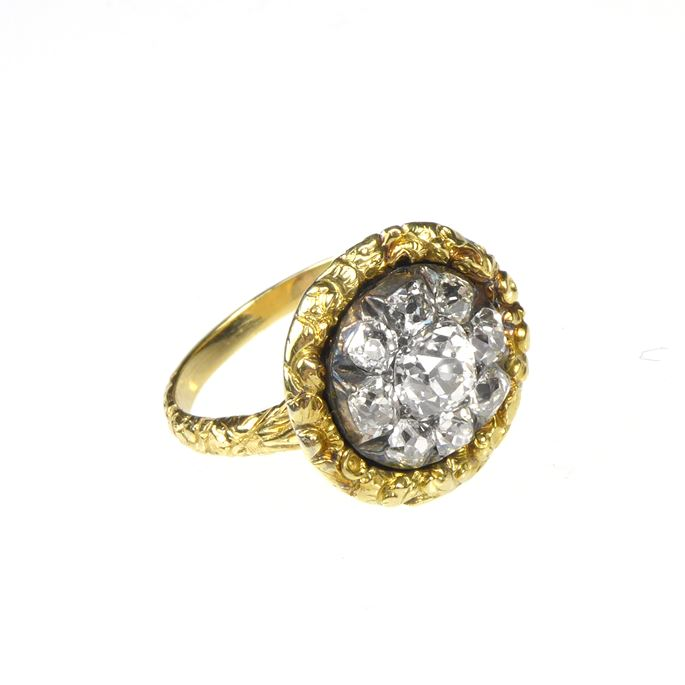Antique cushion cut diamond circular flowerhead cluster, later mounted as a ring | MasterArt