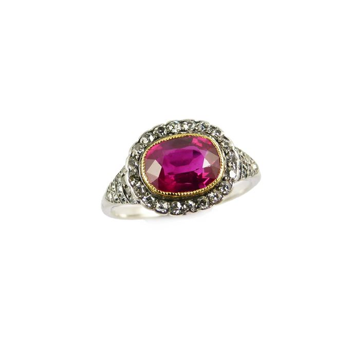 Antique cushion cut ruby and diamond cluster ring, set with a 2.04ct Burma ruby | MasterArt