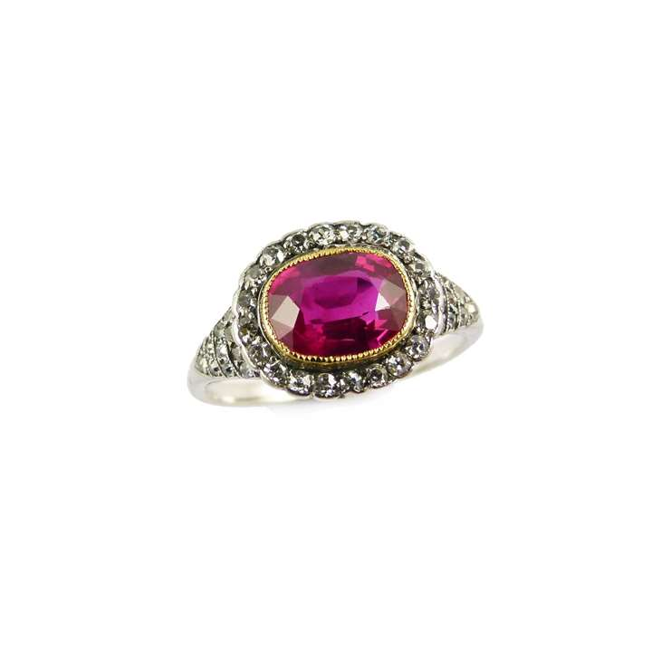Antique cushion cut ruby and diamond cluster ring, set with a 2.04ct Burma ruby