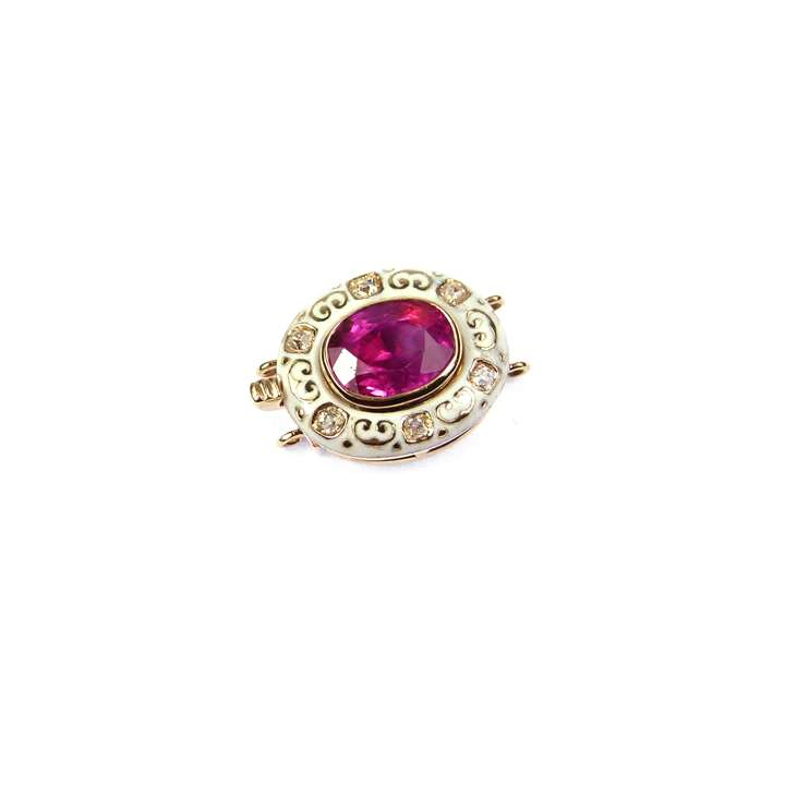 Antique cushion cut ruby, white enamel and diamond cluster clasp with fittings for two rows,