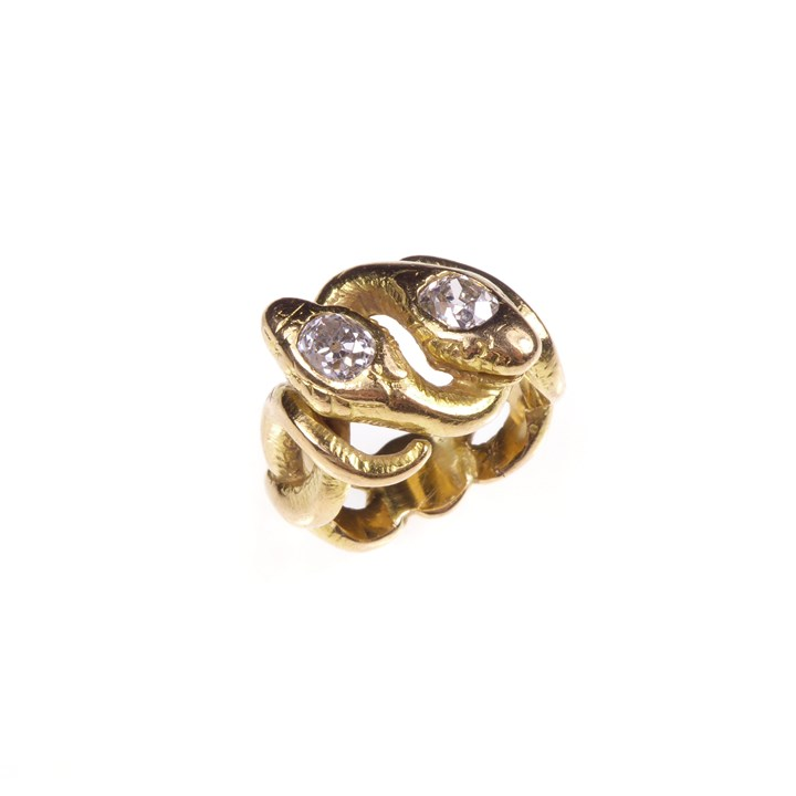 Antique cushion diamond and gold entwined double snake ring