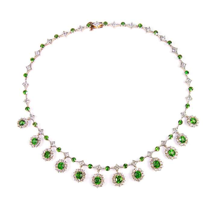 Antique demantoid garnet and diamond fringe necklace