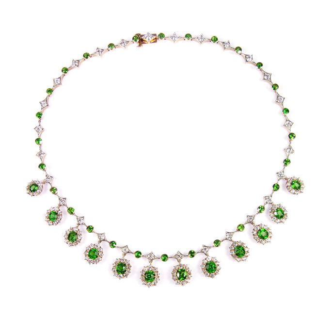 Antique demantoid garnet and diamond fringe necklace | MasterArt