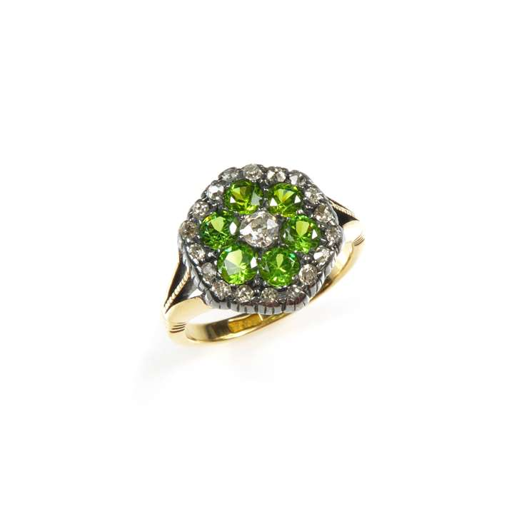 Antique demantoid garnet and diamond hexagonal cluster ring