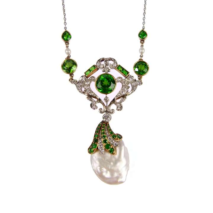 Antique demantoid garnet, diamond and pearl pendant necklace