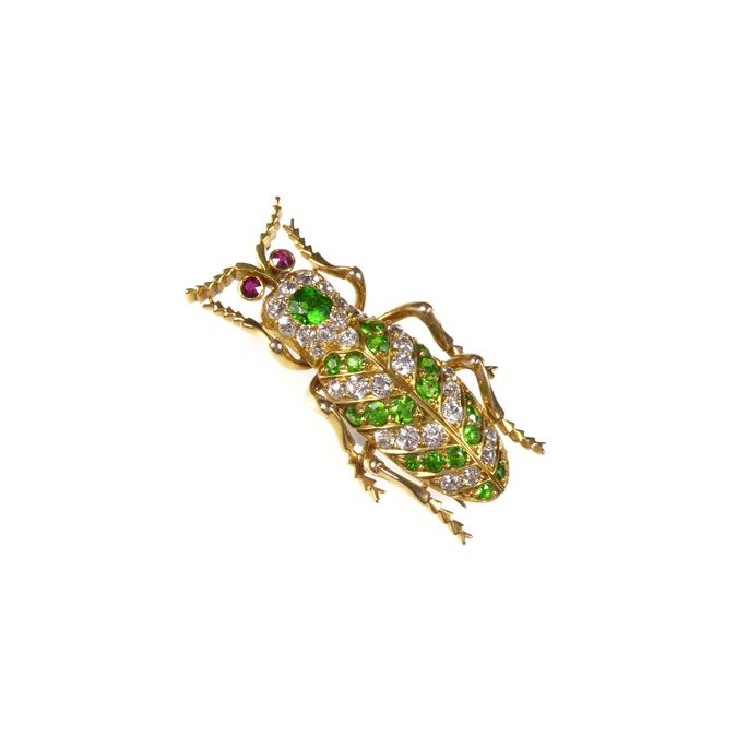 Antique demantoid garnet, diamond, ruby and gold beetle brooch | MasterArt