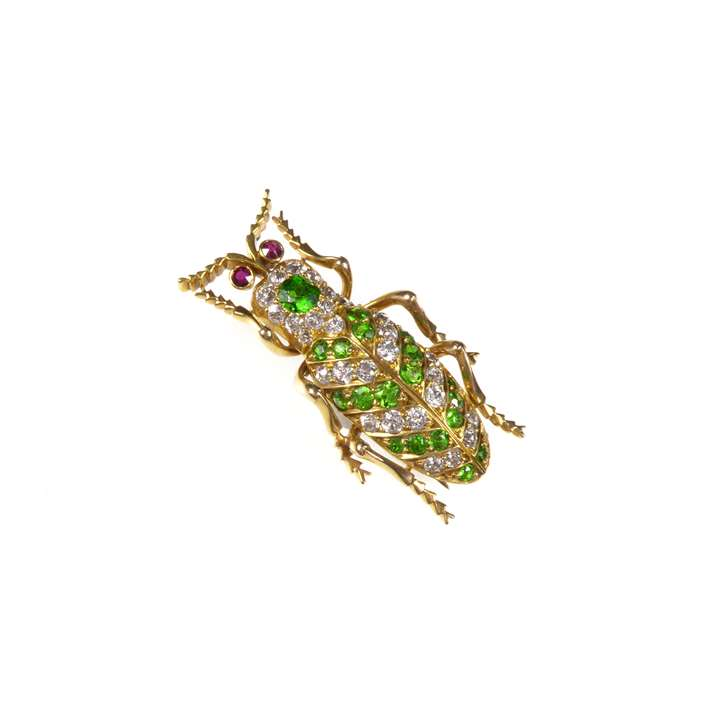 Antique demantoid garnet, diamond, ruby and gold beetle brooch