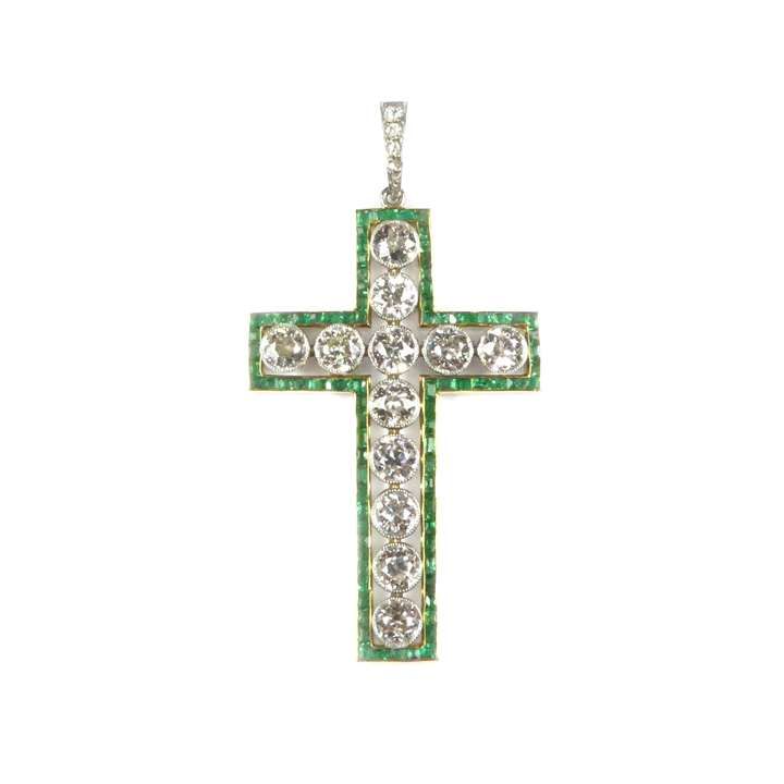 Antique diamond and emerald cross pendant
