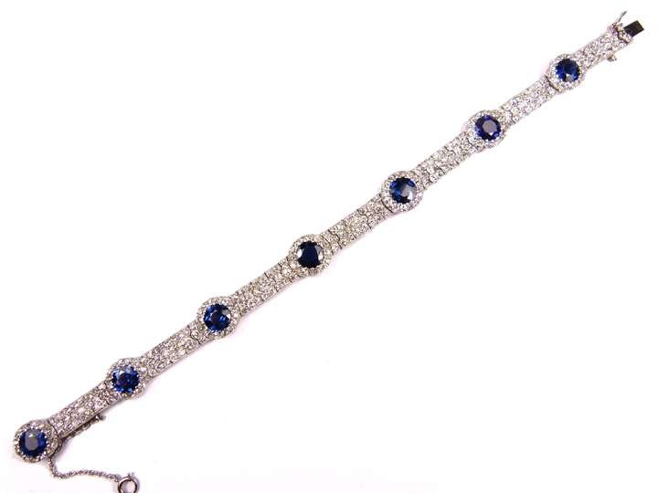 Antique diamond and sapphire cluster strap bracelet