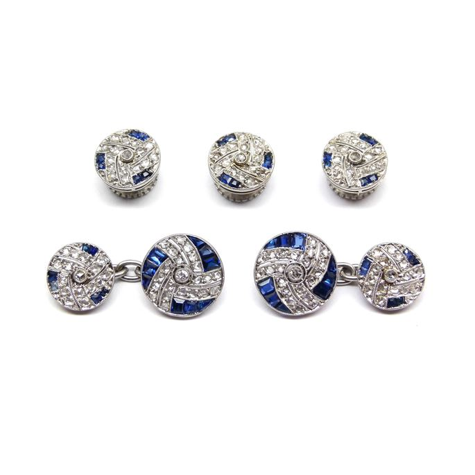 Antique diamond and sapphire gentleman's dress set comprising a pair of cufflinks and three buttons | MasterArt