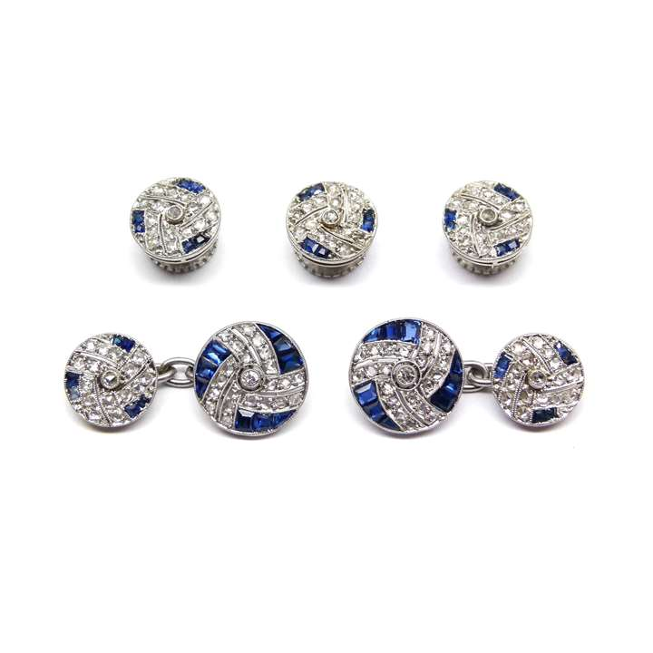 Antique diamond and sapphire gentleman's dress set comprising a pair of cufflinks and three buttons