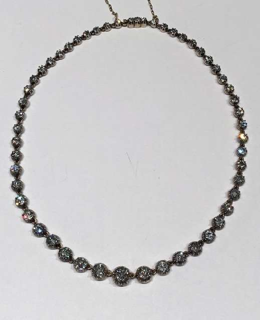 Antique diamond collet necklace of 51 collets