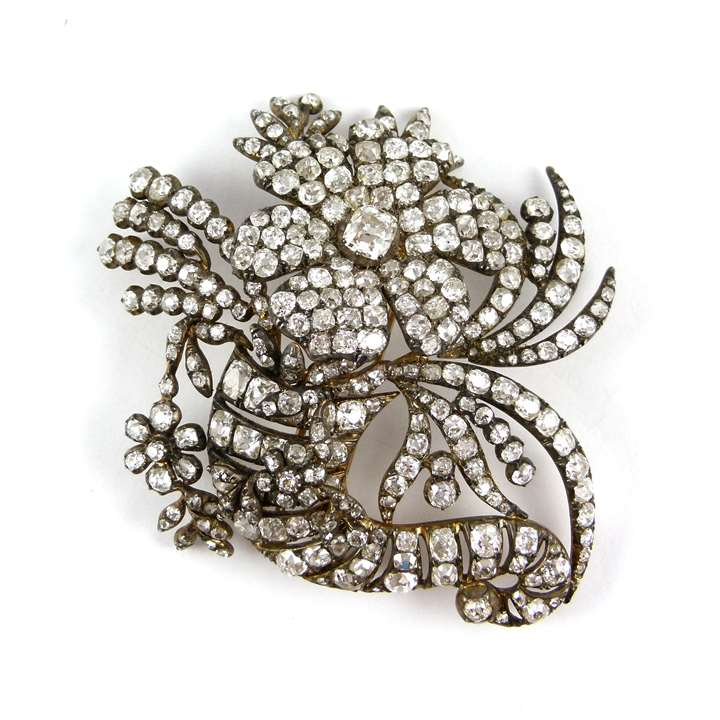 Antique diamond cornucopia spray brooch