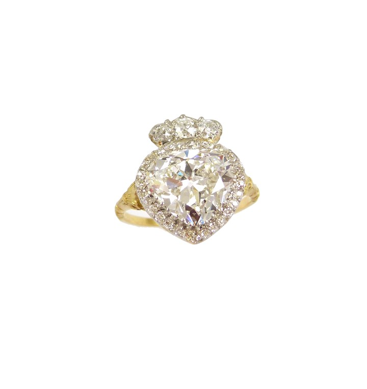 Antique diamond heart cluster and coronet ring, the principal heart shaped diamond 3.50ct