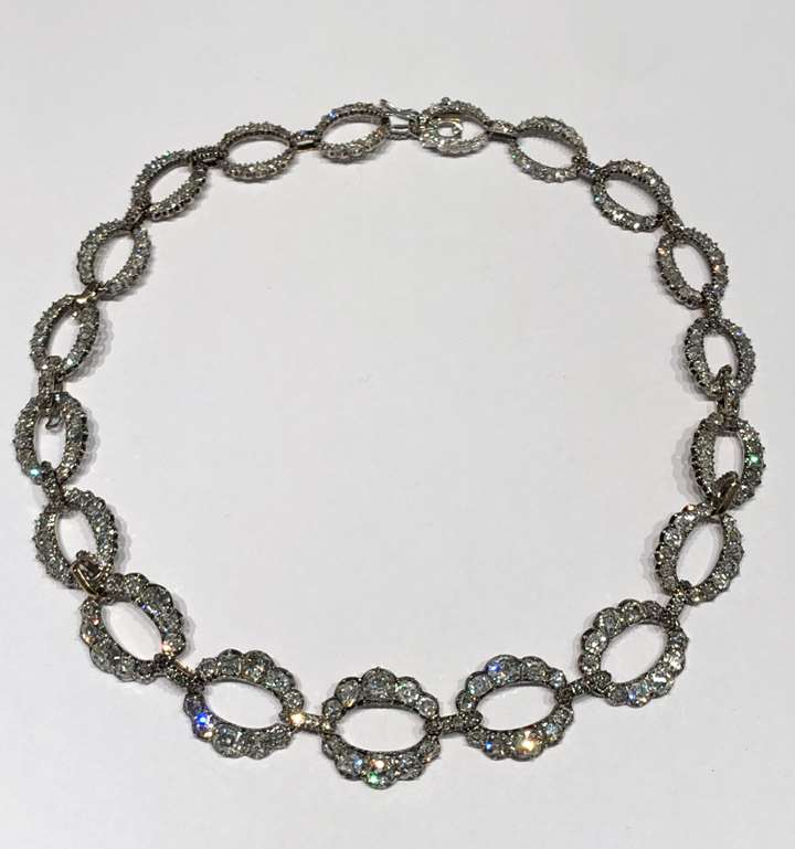 Antique diamond necklace of 19 graduating oval openwork links