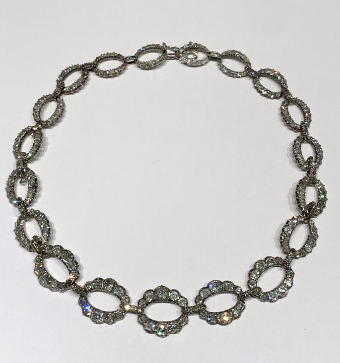 Antique diamond necklace of 19 graduating oval openwork links | MasterArt