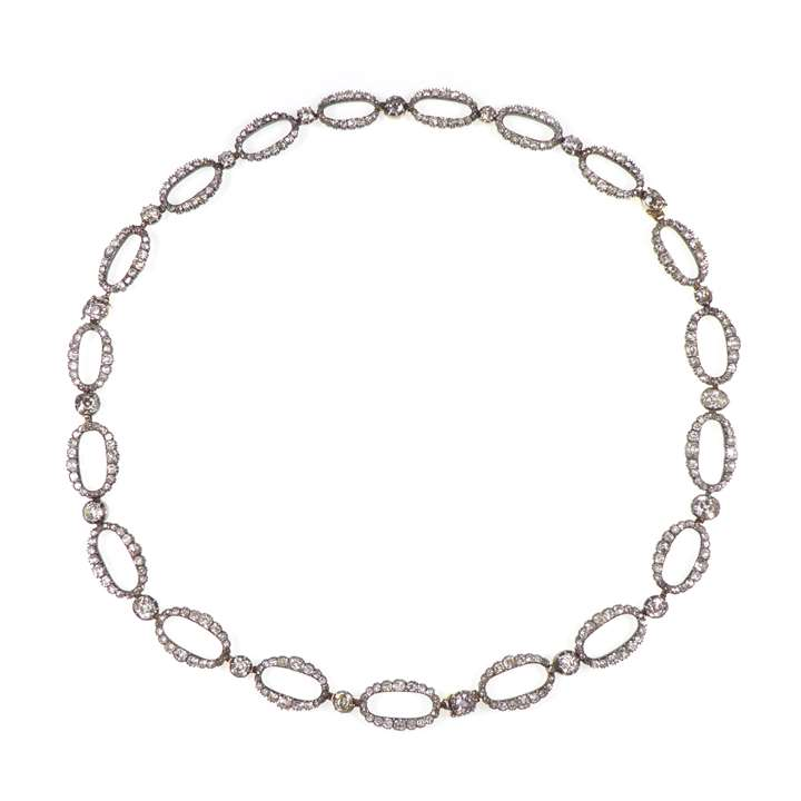 Antique diamond oval link necklace, converting to bracelets and or shorter necklace