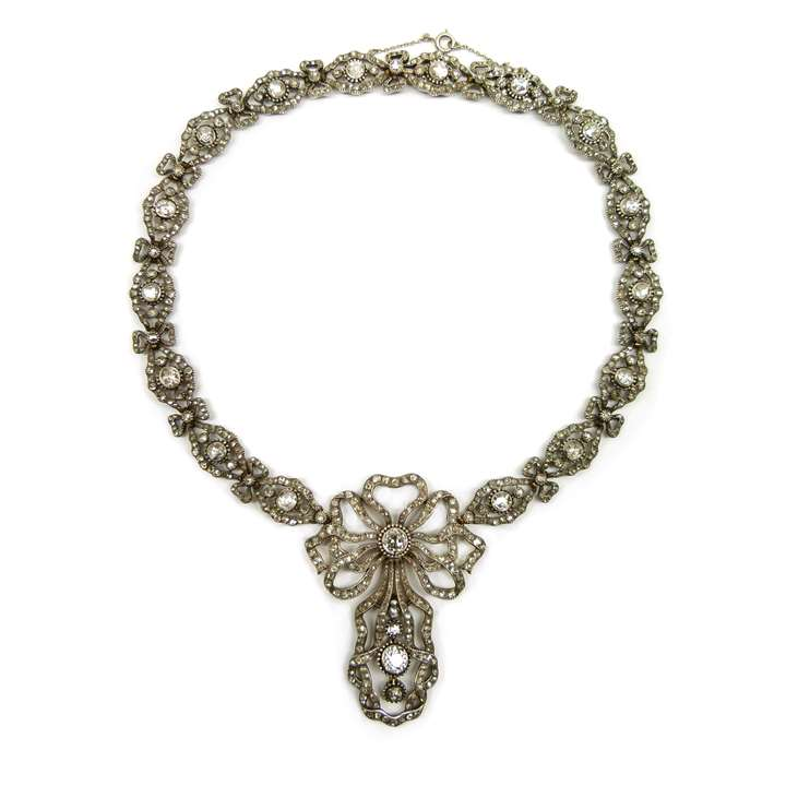 Antique diamond pendant necklace  of 18th century style