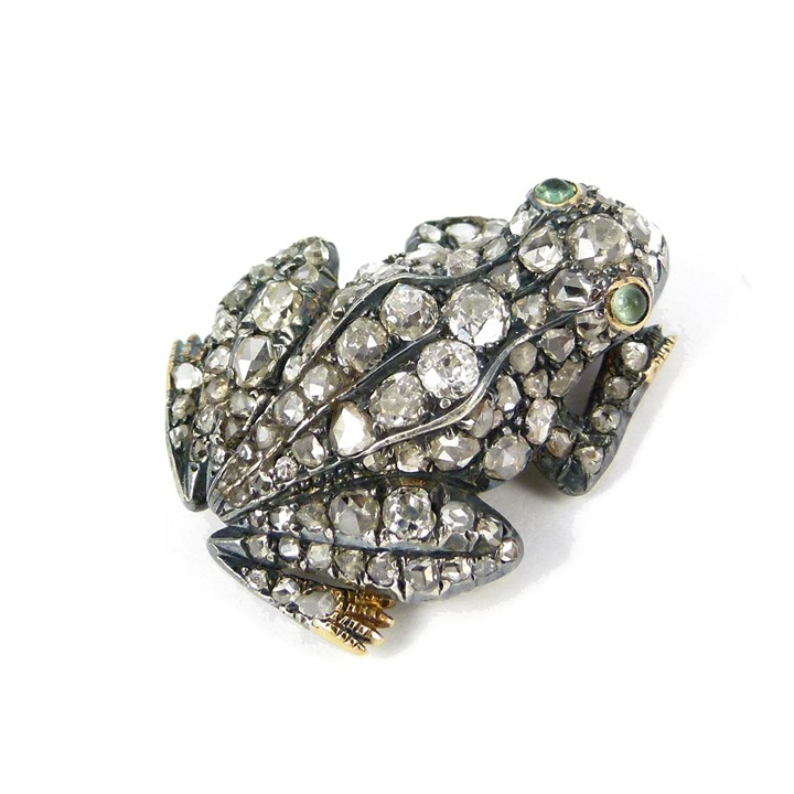 Antique diamond set frog brooch