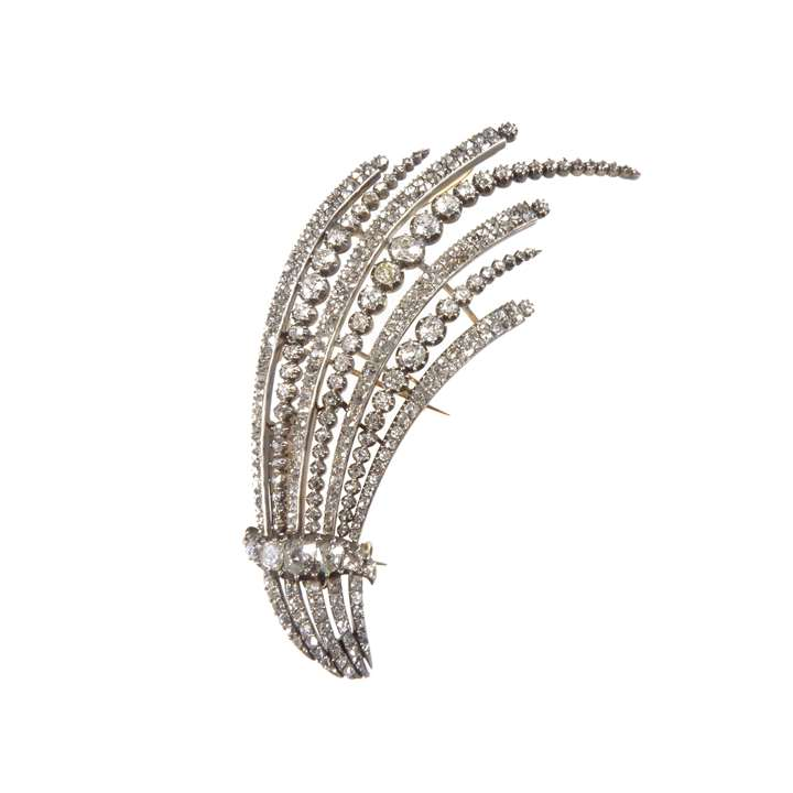 Antique diamond set stylised spray aigrette, fitted as a brooch