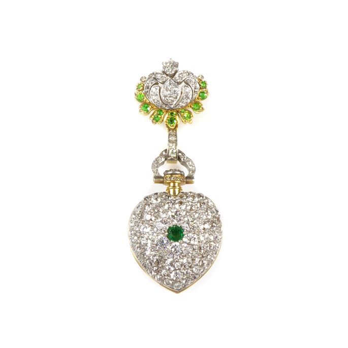 Tiffany - Antique diamond, emerald and demantoid garnet cluster lapel watch | MasterArt