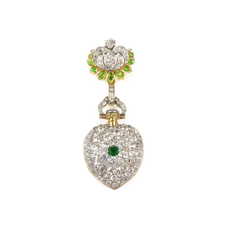 Antique diamond, emerald and demantoid garnet cluster lapel watch