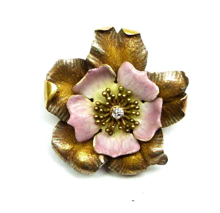 Antique diamond, enamel and gold dog rose flower brooch