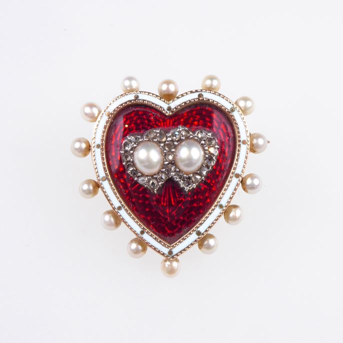 Antique diamond, pearl and red enamel heart brooch-locket | MasterArt