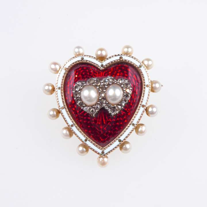 Antique diamond, pearl and red enamel heart brooch-locket
