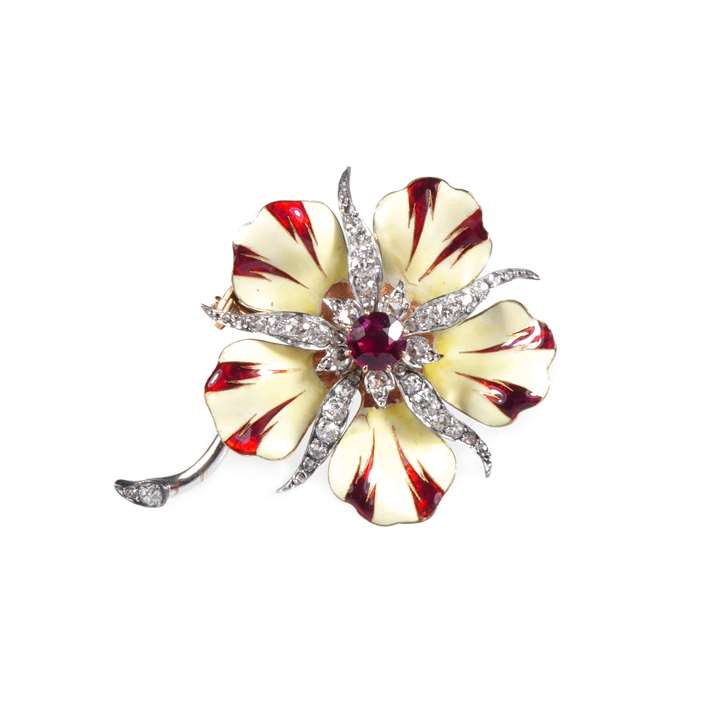 Antique diamond, red spinel and enamel flower brooch