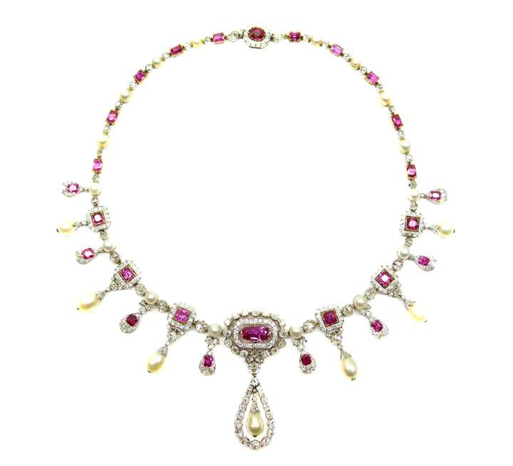 Antique diamond, ruby and pearl fringe necklace
