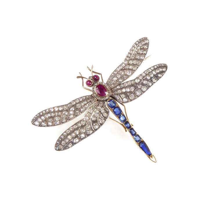 Antique diamond, ruby and sapphire tremblant dragonfly brooch