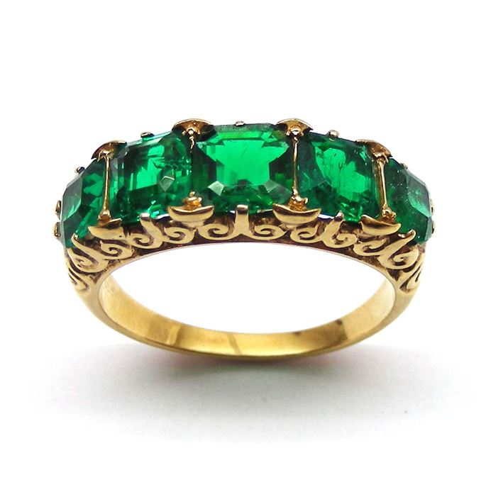 Antique emerald and diamond 5 stone ring, carved gold sides | MasterArt