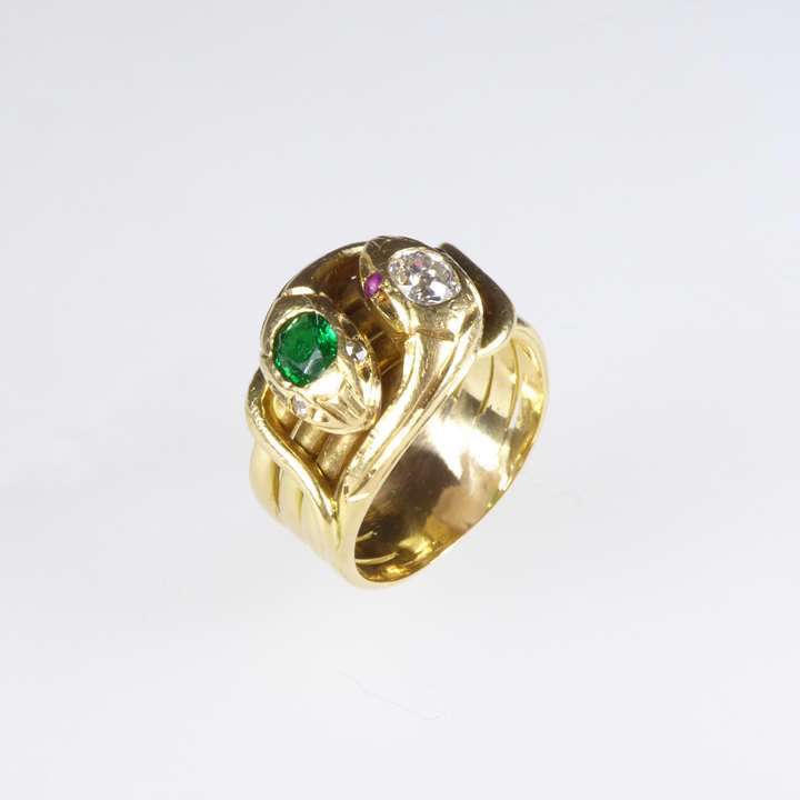 Antique emerald and diamond double snake ring