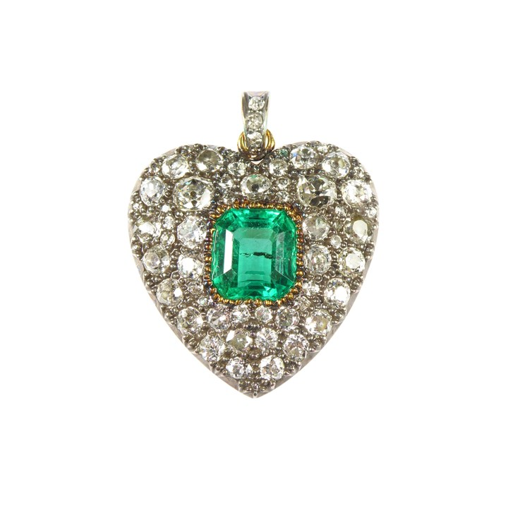 Antique emerald and diamond heart cluster pendant