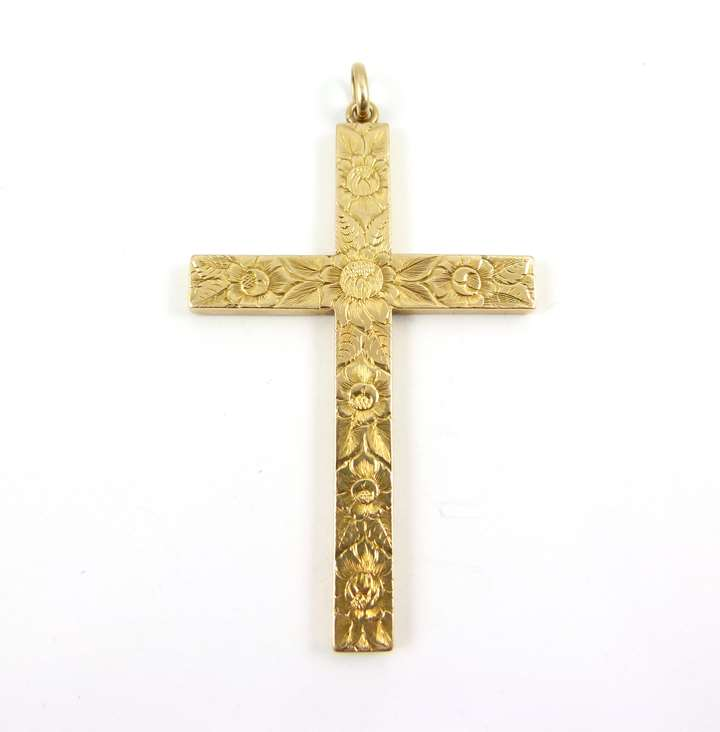 Antique engraved 14ct gold cross pendant